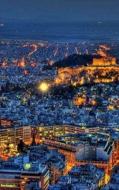 Athens at night, Greece