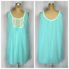 Vintage Rockabilly Pin Up Bridal Blue Lace Nylon Babydoll Nightie Medium   eBay