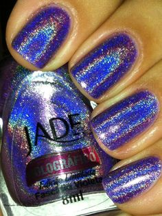 Holographic Hussy: Jade Holographic Collection Part 3 Fancy Nails, Love Nails, How To Do Nails, Pretty Nails, Garra, Colorful Nail Designs, Nail Art Designs, Holographic Nail Polish, Fabulous Nails