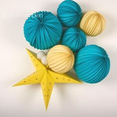 Lanterne étoile - 60 cm - Bleu petit bijou