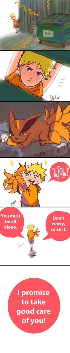 Awww... Naruto and his pet kurama .. together .. forever