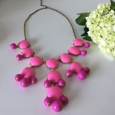 Hot Pink Bubble Necklace (Just like) J. Crew's iconic bubble necklace in hot pink and fuchsia. Antiqued gold chain with extender. Great condition. J. Crew Jewelry Necklaces