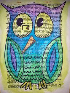 'Owl' by Geoffe Art journal watercolor