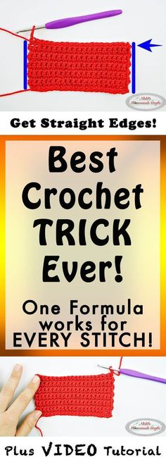 Best Crochet Trick Ever! How to always Crochet Straight Edges in Rows Every Time - Photo and Video Tutorial - Nicki's Homemade Crafts