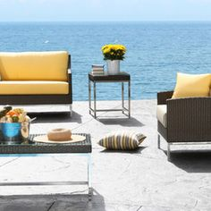Malibu Wicker With Stainless Steel Conversation Set. See More. Nevada  Outdoor Sectional Wicker Patio Furniture ...