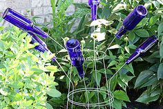 tomato cage bottle tree, gardening, outdoor living, repurposing upcycling, Bottle tree made out of tomato cages