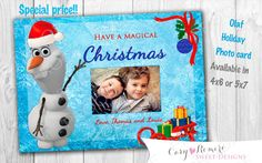 SPECIAL OFFER!! Olaf Frozen  Holiday Christmas Photo Card by SweetDesignsCR