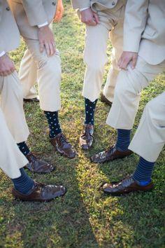 Groomsmen fun socks; khaki suits; men's warehouse; southern wedding; Oak Level Farm
