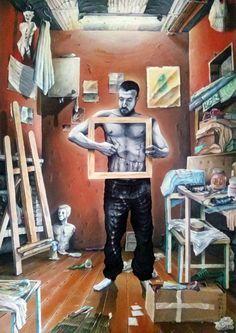 """""""Autoerotismo - Fallimento dell'impossibile 1/3"""" 120x100cm acrilico su tela, 2015  Io sono il me stesso incompiuto. Io sono la mia copia imperfetta. Sono io il modello di me stesso. Sono il mio corpo ferito e sono la mia stessa immagine riflessa.  Magritte ci aveva provato, a dipingere Georgette. Io, a dipingere il mio modello, NON ci sono riuscito"""