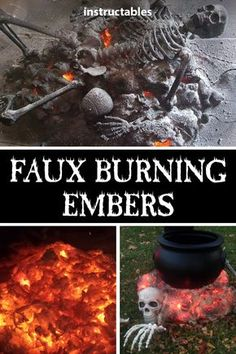 Burning Embers Halloween Prop Using spray foam and orange lights (or LEDs) you can make a faux smoldering pile of embers. Add a cauldron or skeleton for the perfect Halloween decoration. Casa Halloween, Halloween Outside, Halloween Haunted Houses, Halloween Party Decor, Holidays Halloween, Diy Halloween Yard Decorations, Scary Halloween Crafts, Halloween 2020, Halloween Pumpkins
