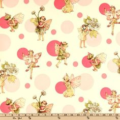 Licensed from the estate of Cicely Mary Barker to Michael Miller Fabrics, this fabric features a sweet fairies on a polka dot background. The color palette includes celedon, peach, ivory, yellow and pink on an ivory background with silver metallic accents throughout. Use for quilting and craft projects as well as apparel and home decor accents.