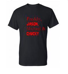 Freddy Jason Michael Chucky T-Shirt, Horror Movie Shirt, Funny Shirt, Horror Shirt, Geek T-Shirt, Geek Shirt, Mens, Womens, SM- 5X Plus Size on Etsy, $14.95