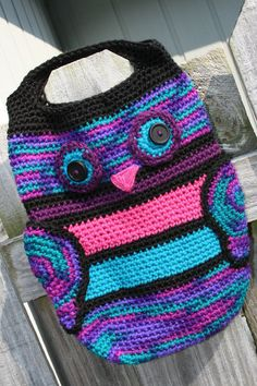 Owl tote bag crochet large purse oversized por Loopedwithlove4U