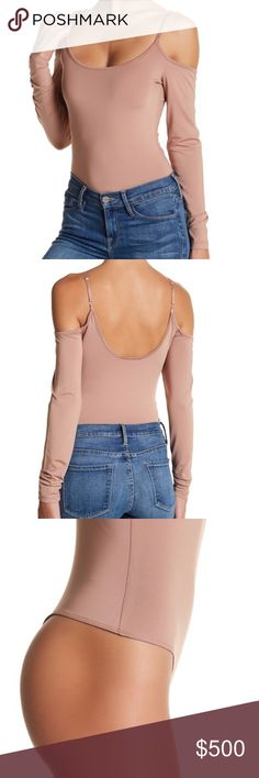 COMING SOON! Cold Shoulder Bodysuit Rose taupe color cold shoulder bodysuit with a scoop neck, adjustable spaghetti straps, and snap button closure Tops