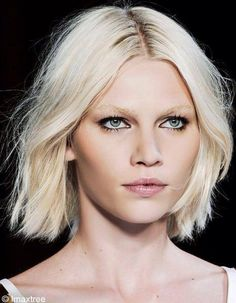 kohl rimmed eyes ... messy blunt bob - grunge beauty