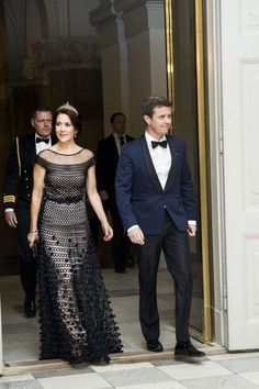 Crown Princess Mary and Crown Prince Frederik of Denmark attend a gala dinner for Danish art and culture at Christiansborg Palace, Copenhagen on March 15, 2016 #temperleylondon