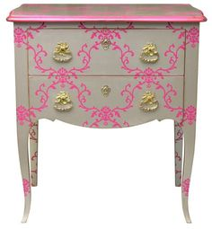 pink furniture site:pinterest.com | Pink glamour damask pattern on nightstand | Painted Furniture