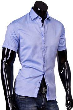 5508beeca65 Купить Приталенная рубашка с коротким рукавом голубого цвета фото недорого  в…
