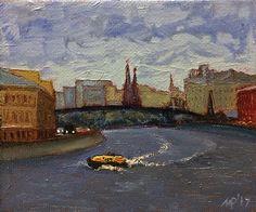 Ruben Monakhov. Moscow-river. Canvas on board, oil, 10х12 cm., 2017. http://rubenm.spb.ru #painting #живопись