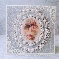 Birthday handmade card female pearls shabby lace chic, spellbinders