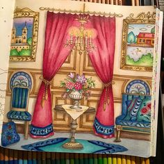 My blue/green room from Romantic Country. Colored along with @viernesfriday on our first coloring together. Check out hers too! #romanticcountry #romanticountrycoloringbook #coloralong #coloring #adultcoloring #eriy #eriy06 #lovecoloring #coloringbook #arttherapy #adultcoloringbook #bayan_boyan