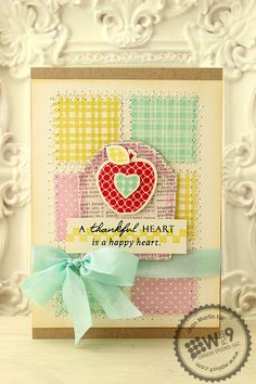 Jean Martin for Wplus9 featuring Pretty Patches: Apple stamps and dies and Country Charm stamps.