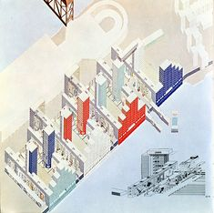 A Visionary Platform of Architecture Oma Architecture, Architecture Graphics, Architecture Drawings, Axonometric Drawing, Future Buildings, Model Sketch, Rem Koolhaas, Wall Drawing, Urban Landscape