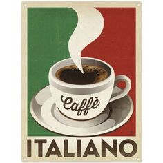 This Caffe Italiano Italian Coffee Metal Sign features a vintage style graphic perfect for cafe or kitchen wall decor. Copyright Anderson Design Group, Inc. Coffee Cafe, Coffee Drinks, Coffee Shop, Coffee Iv, Coffee Mugs, Coffee Break, Italy Coffee, Espresso Cafe, Coffee Enema