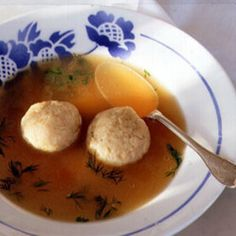 Gillie Feuer's secret to perfect Matzo Balls: margarine. Maybe it'll be your secret too. Aunt Gillie's Matzo Ball Soup from Saveur, found at www.edamam.com.