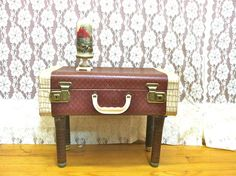 Repurposed Suitcase Side or End Table. Small by TheGrayFedora