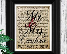 Wedding Gift, One Year Anniversary Gift, First Dance Love Song Lyrics, Personalized Wedding Anniversary Gifts, Christmas Wife Gift Idea
