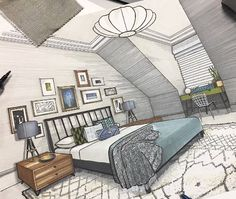 Interior Design Renderings, Drawing Interior, Interior Rendering, Interior Sketch, Interior Exterior, Architecture Life, Interior Architecture, Interior Design And Technology, Casa Anime
