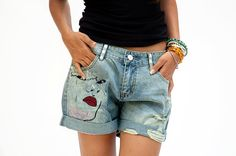 High waisted denim blue jeans shorts por sevenseventyfashion, $109.00