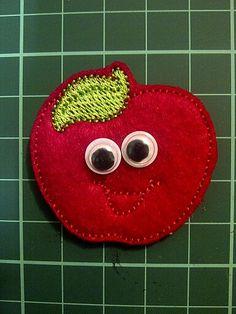 Smiley Apple Felt Fridge Magnet