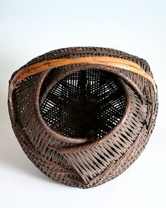 Bamboo Flower Basket with Handle - BambooTokyo.com - Japanese Bamboo Basket -
