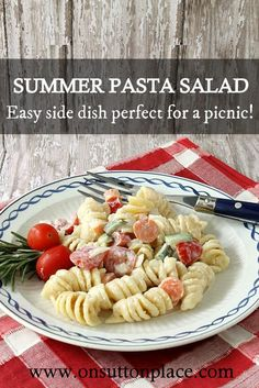 This pasta salad recipe is an easy side dish that is perfect for a party or picnic. Can be made a day ahead too!