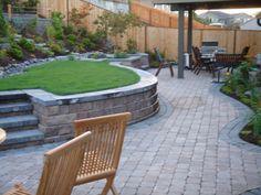 backyard ideas, backyard design, backyard retaining walls, fantasi backyard, concrete patio pavers, beauti backyard, outdoor space, retain wall, concret patio