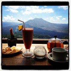 Dining by the volcanos in Kintamani, Bali. Day after wedding