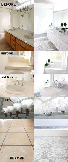 Gray and White Bathroom Makeover - Gray and white bathroom ideas. GORGEOUS results with just two colors: gray and white! Grey Bathrooms, Small Bathroom, Bathroom Gray, Gray And White Bathroom Ideas, Colorful Bathroom, Bathroom Closet, Bathroom Plants, Boho Bathroom, Modern Bathroom