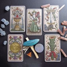 Aces and Temperance card from the Trionfi della Luna Tarot, Italian Edition. / Photo © www.VioletAura.com