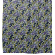 Paisleys in Blue Purple & Green - Shower Curtain