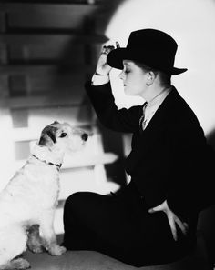 "Myrna Loy and her ..Jack-Russell ""Asta"""
