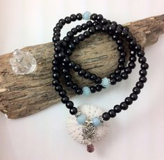 Spiritual awareness Mala necklace with aquamarine.