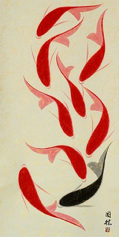 Modern Koi Scroll tattoo idea