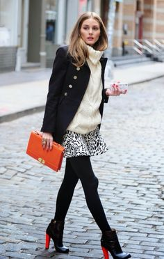 Jumper, jacket, short contrasting skirt, thick black tights and great heels