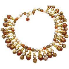 Vintage Autumn Colors Beaded Bib Necklace Lucite Bead Gold Tone Filigree Caps Jewelry Necklaces, Beaded Necklace, Vintage Fall, Fall Leaves, Autumn Inspiration, Artisan Jewelry, Filigree, Vintage Jewelry, Jewels