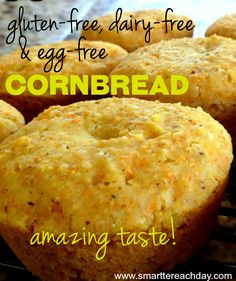 This gluten free, dairy free and egg free cornbread is just melt-in-your-mouth delicious! It's so foolproof and easy, you can't tell a difference!