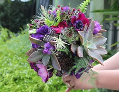 More from The Cutting Garden - this bouquet is a wonderful combination of rich colors, textures, flora types.  Gorgeous.