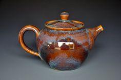 Burgundy Rose Stoneware Teapot Handmade Pottery by darshanpottery