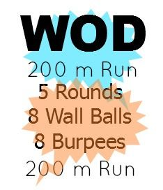 200 M Run. 5 Rounds: 8 Wallballs and 8 Burpees. 200 M Run.